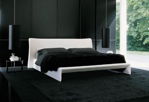 black carpets and walls in rooms