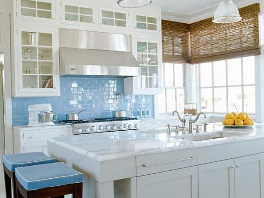 White Kitchen Color Scheme Blue Glass Tile Backsplash Ideas