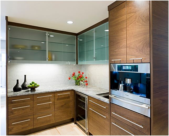 Kitchen Cabinets Ribbed Glass Doors