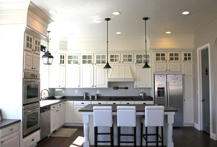 Glass Cabinets Above Upper Cabinets