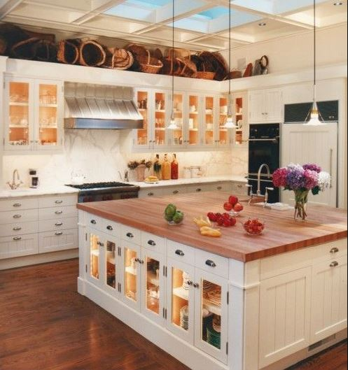 Glass Cabinets On The Kitchen Floor