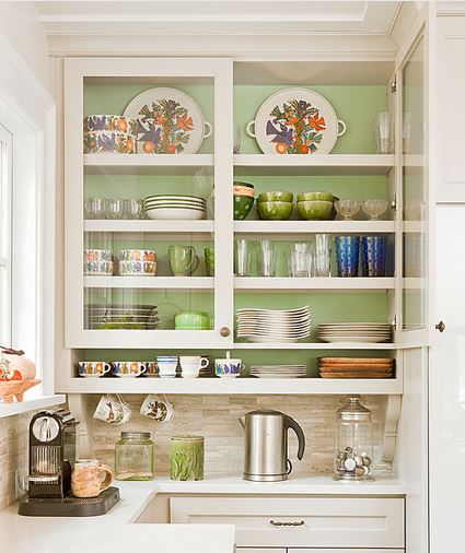 Glass-Front Cabinets With Paint