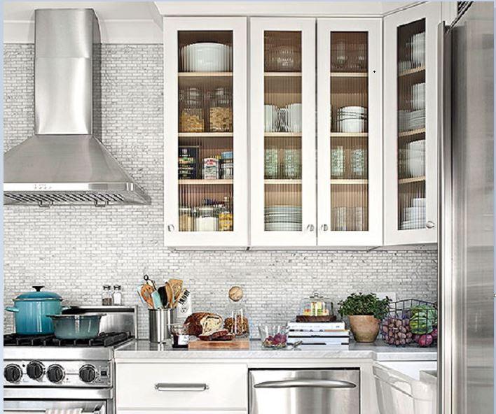 Textured Glass Kitchen Cabinets